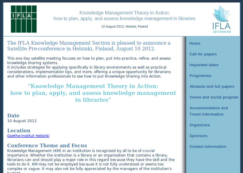 IFLA - Knowledge Management Theory in Action
